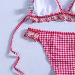 Maillot de bain femme 2 pièces à carreaux rouges et blancs Rosa