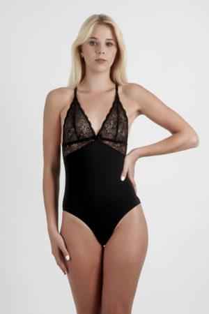 Body de lingerie noir ou blanc en dentelle sans armatures Clara