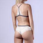 Ensemble de lingerie femme gris et blanc soutien-gorge triangle effet velours Katia