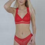 Ensemble rouge 2 pièces culotte soutien-gorge Bella