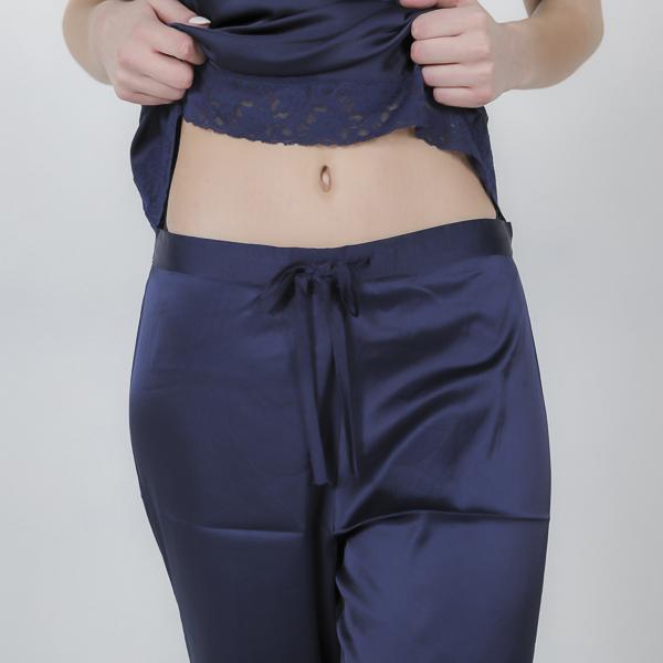 Ensemble pyjama pantalon femme satin bleu Josette