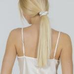 Ensemble pyjama-short robe de chambre satin blanc crème Milla