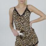 Ensemble pyjama-short femme motif léopard avec dentelle Tigra